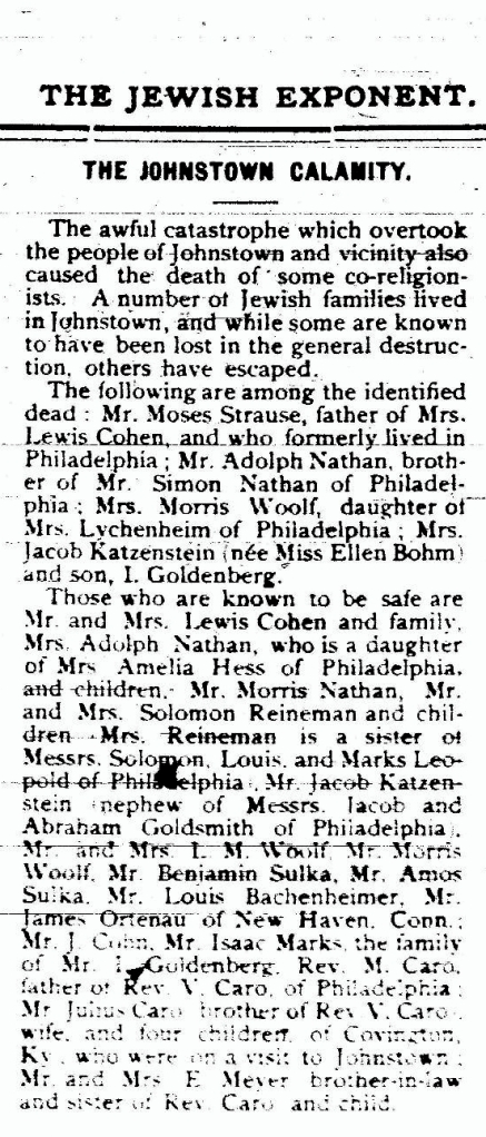 Philadelphia Jewish Exponent,, June 7, 1889, p. 3