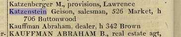 Gerson Katzenstein in the 1856 Philadelphia directory