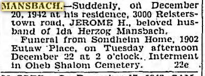 Baltimore Sun, December 21, 1942, p. 18