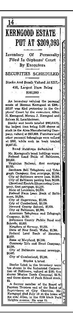 Baltimore Sun, August 7, 1932, p, 13