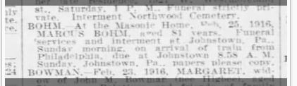 Philadelphia Inquirer, February 26, 1916, p. 18