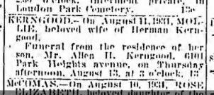 Baltimore Sun, August 12, 1931, p. 19