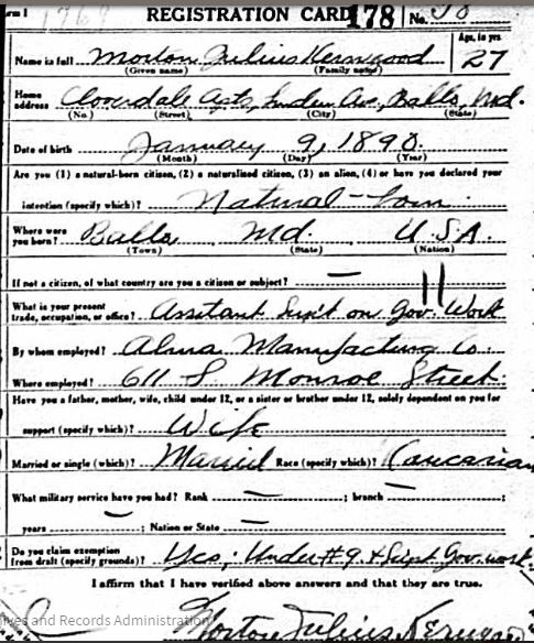 Morton Kerngood World War I draft registration Registration State: Maryland; Registration County: Baltimore (Independent City); Roll: 1684137; Draft Board: 13