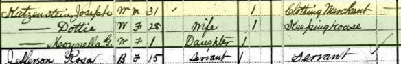 S. Joseph Katzenstein and family 1880 census Year: 1880; Census Place: Washington, Washington, Pennsylvania; Roll: 1202; Family History Film: 1255202; Page: 577A; Enumeration District: 270