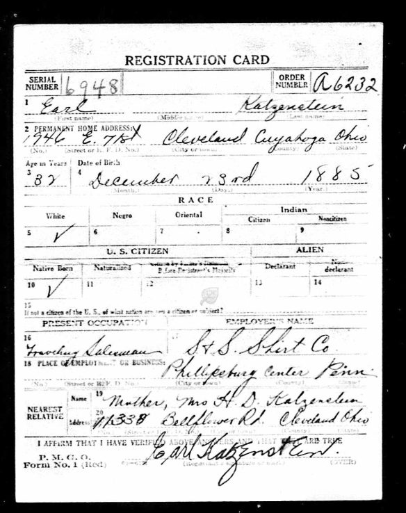Earl Katzenstein World War I draft registration Registration State: Ohio; Registration County: Cuyahoga; Roll: 1831766; Draft Board: 07