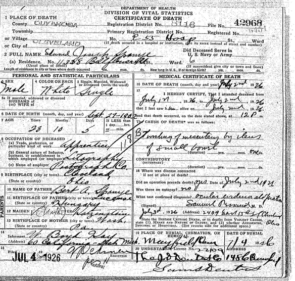 "Edward Spanye death certificate ""Ohio Deaths, 1908-1953,"" database with images, FamilySearch (https://familysearch.org/ark:/61903/3:1:33S7-9PJ1-S35L?cc=1307272&wc=MD9X-1PD%3A287601201%2C294566201 : 21 May 2014), 1926 > image 2692 of 3564."