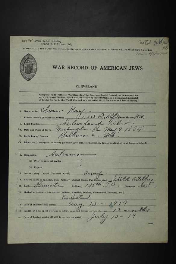 Series II: Questionnaires: Jews; Record Group Description: (A) General Files, Army and Navy (Boxes 2-4); Box #: 3; Folder #: 9; Box Info: (Box 3) Cleveland: Privates, H-P Description Folder Content Description : (Box 3) Cleveland: Privates, H-P