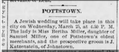Jacob Katzenstein wedding to Bertha Miller PHiladelphia Times March 12 1891 p. 3