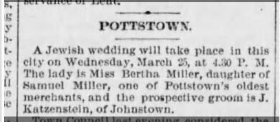 Jacob Katzenstein wedding to Bertha Miller PHiladelphia Times March 12 1891 p. 3