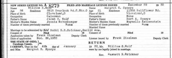 Marriage license of Margaret Spanye and William Wolf Ancestry.com. Ohio, County Marriages, 1774-1993 [database on-line]. Lehi, UT, USA: Ancestry.com Operations, Inc., 2016. Original data: Marriage Records. Ohio Marriages. FamilySearch, Salt Lake City, UT.