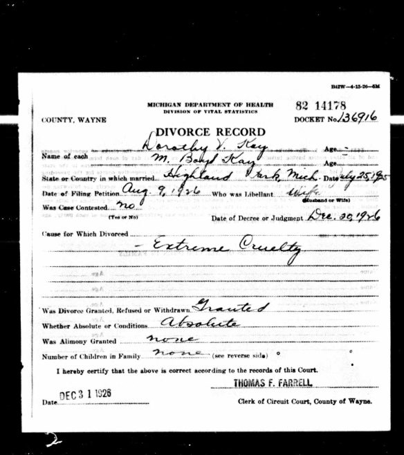 Divorce of Milton Boyd Kay by Dorothy Veese 1926 Ancestry.com. Michigan, Divorce Records, 1897-1952 [database on-line]. Provo, UT, USA: Ancestry.com Operations, Inc., 2014. Original data: Michigan. Divorce records. Michigan Department of Community Health, Division for Vital Records and Health Statistics, Lansing, Michigan