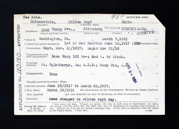 Box Title : Kapp, Edward B - Kauffman, Frank (221) Source Information Ancestry.com. Pennsylvania, WWI Veterans Service and Compensation Files, 1917-1919, 1934-1948 [database on-line]. Provo, UT, USA: Ancestry.com Operations, Inc., 2015. Original data: World War I Veterans Service and Compensation File, 1934–1948. RG 19, Series 19.91. Pennsylvania Historical and Museum Commission, Harrisburg Pennsylvania.