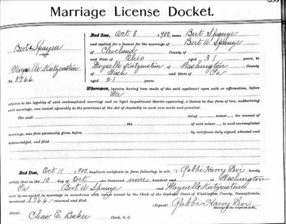 Moynelle Katzenstein and Bert Spanye marriage record Ancestry.com. Pennsylvania, Marriages, 1852-1968 [database on-line]. Lehi, UT, USA: Ancestry.com Operations, Inc., 2016. Original data: Marriage Records. Pennsylvania Marriages. FamilySearch, Salt Lake City, UT.