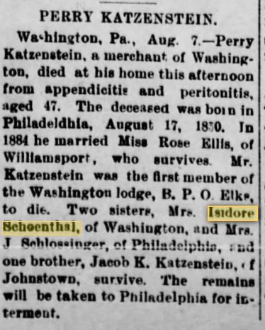 Perry Katzenstein obituary Canonsburg PA Daily Notes August 8, 1903 p.2