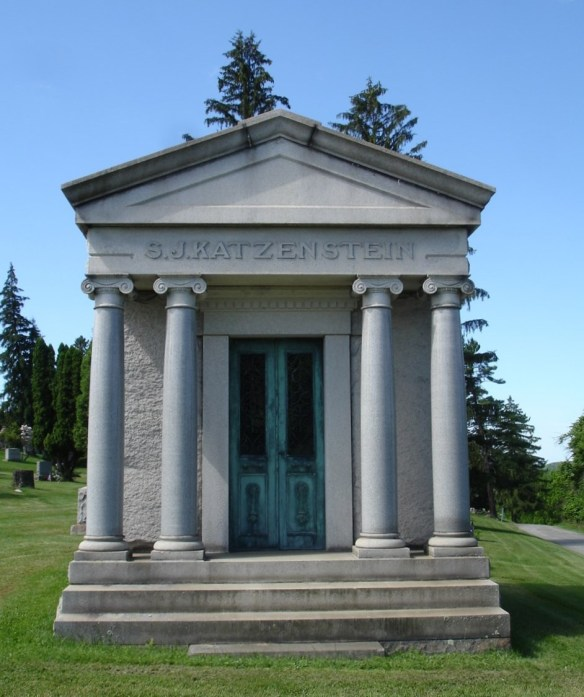 The S.J. Katzenstein Mausoleum at Washington Cemetery Courtesy of Joe at FindAGrave https://s3-us-west-2.amazonaws.com/find-a-grave-prod/photos/2016/232/168667419_1471722303.jpg