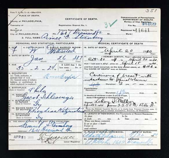 Aimee Schlesinger Steinberg death certificate Pennsylvania Historic and Museum Commission; Pennsylvania, USA; Certificate Number Range: 043501-046500