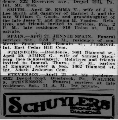 Philadelphia Inquirer April 22, 1920 p. 18