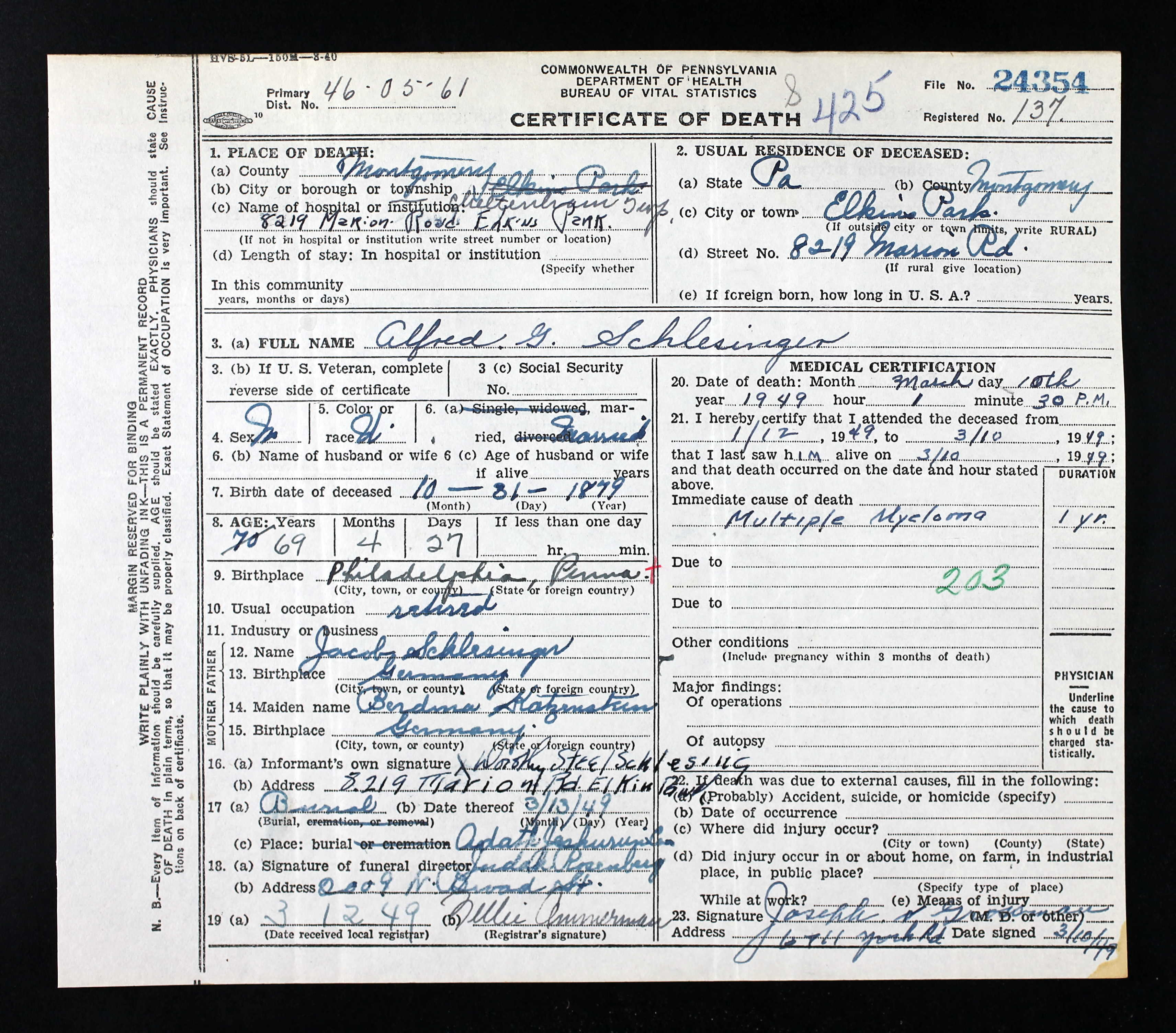 February 2017 brotmanblog a family journey alfred schlesinger death certificate pennsylvania historic and museum commission pennsylvania usa certificate number aiddatafo Images