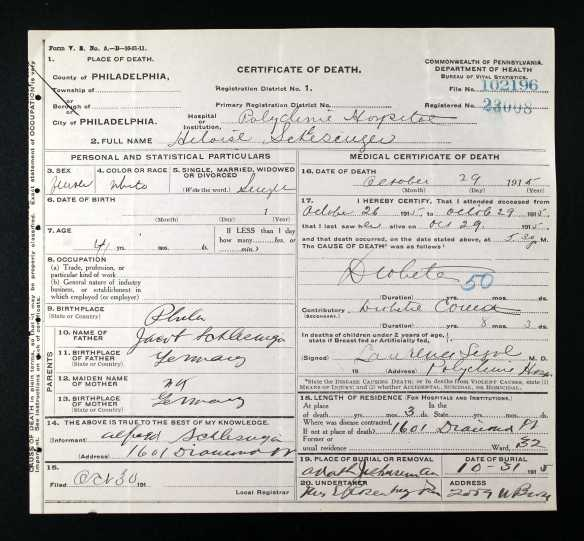 Heloise Schlesinger death certificate Pennsylvania Historic and Museum Commission; Pennsylvania, USA; Certificate Number Range: 102051-105290