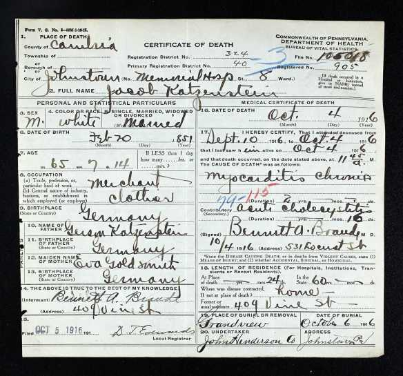 Jacob Katzenstein death certificate Pennsylvania Historic and Museum Commission; Pennsylvania, USA; Certificate Number Range: 102541-105790