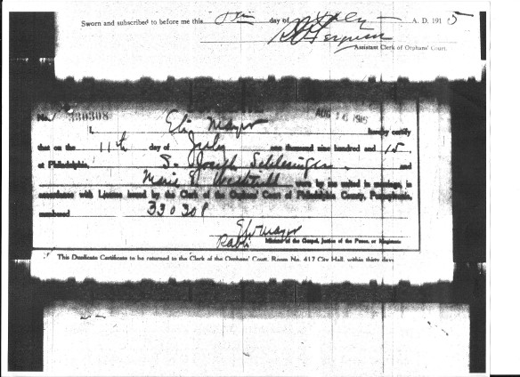 Marriage license and certificate of S. Joseph Schlesinger and Marie Wetherill