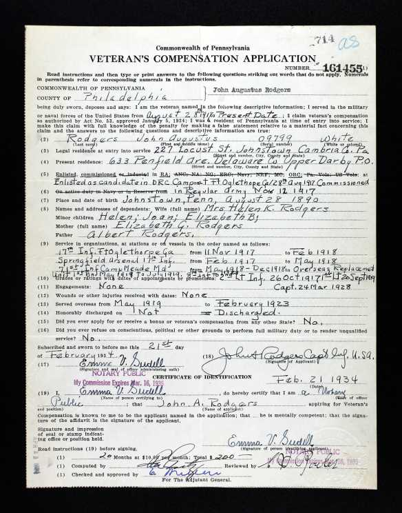 John Rodgers application for Veterans Compensation Ancestry.com. Pennsylvania, WWI Veterans Service and Compensation Files, 1917-1919, 1934-1948 [database on-line]. Provo, UT, USA: Ancestry.com Operations, Inc., 2015. Original data: World War I Veterans Service and Compensation File, 1934–1948. RG 19, Series 19.91. Pennsylvania Historical and Museum Commission, Harrisburg Pennsylvania.