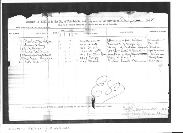 Marie Wetherill birth record