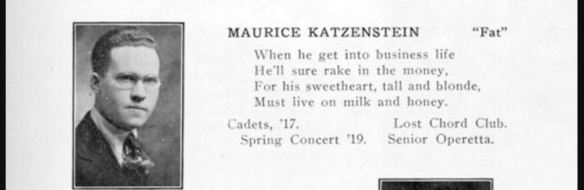 Maurice Katzenstein, 1919 Greater Johnstown High School Yearbook http://usgwarchives.net/pa/cambria/images/spectator-19/p031.jpg