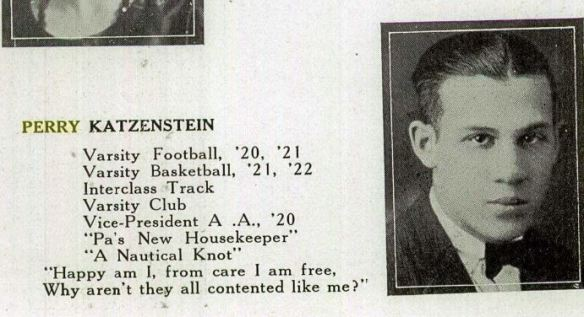 Perry Katzenstein, 1922 Greater Johnstown High School yearbook Ancestry.com. U.S., School Yearbooks, 1880-2012 [database on-line]. Provo, UT, USA: Ancestry.com Operations, Inc., 2010. Original data: Various school yearbooks from across the United States.
