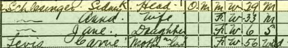 Sidney Schlesinger and family 1920 census Year: 1920; Census Place: Philadelphia Ward 42, Philadelphia, Pennsylvania; Roll: T625_1643; Page: 13B; Enumeration District: 1563; Image: 705