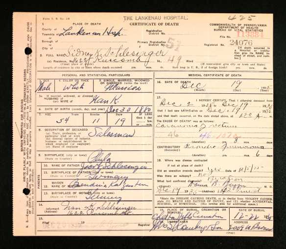 Sidney Schlesinger death certificate Pennsylvania Historic and Museum Commission; Pennsylvania, USA; Certificate Number Range: 112501-114537