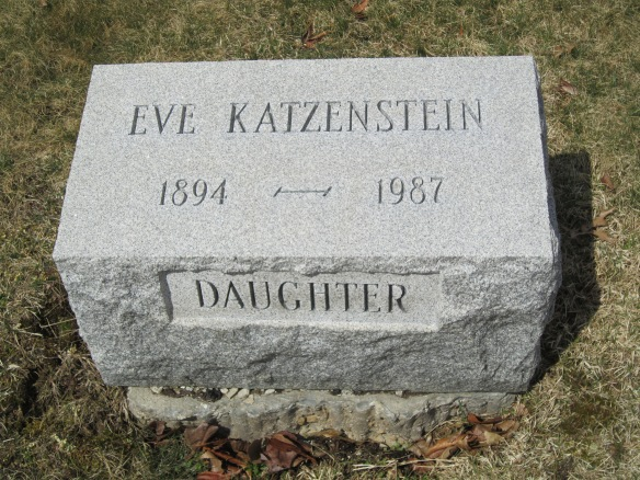 "Eva Katzenstein headstone ""courtesy of Find-A-Grave Member Brian J. Ensley (#47190867)"