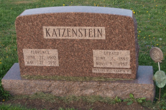 Headstone for Gerald and Florence (Lint) Katzenstein FindAGrave memorial by JM https://www.findagrave.com/cgi-bin/fg.cgi?page=pv&GRid=169359892&PIpi=145414417