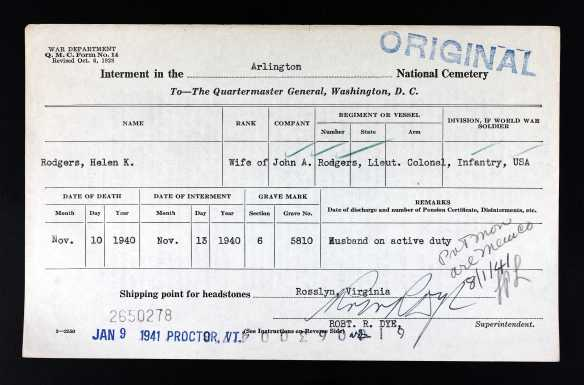 Ancestry.com. U.S. National Cemetery Interment Control Forms, 1928-1962 [database on-line]. Provo, UT, USA: Ancestry.com Operations, Inc., 2012. Original data: Interment Control Forms, 1928–1962. Interment Control Forms, A1 2110-B. Records of the Office of the Quartermaster General, 1774–1985, Record Group 92. The National Archives at College Park, College Park, Maryland.