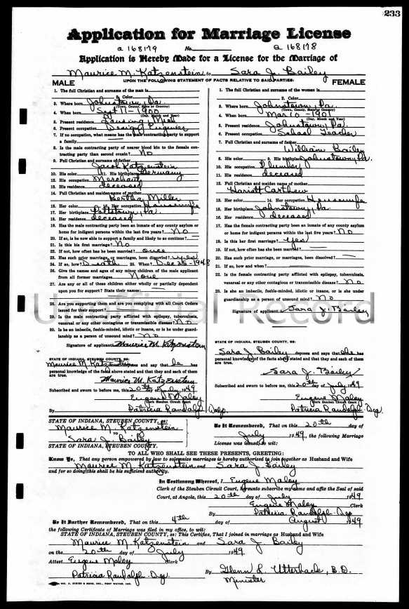Indiana marriage record of Maurice Katzenstein and Sara Bailey Ancestry.com. Indiana, Marriages, 1810-2001 [database on-line]. Provo, UT, USA: Ancestry.com Operations, Inc., 2014. Original data: Indiana, Marriages, 1810-2001. Salt Lake City, Utah: FamilySearch, 2013