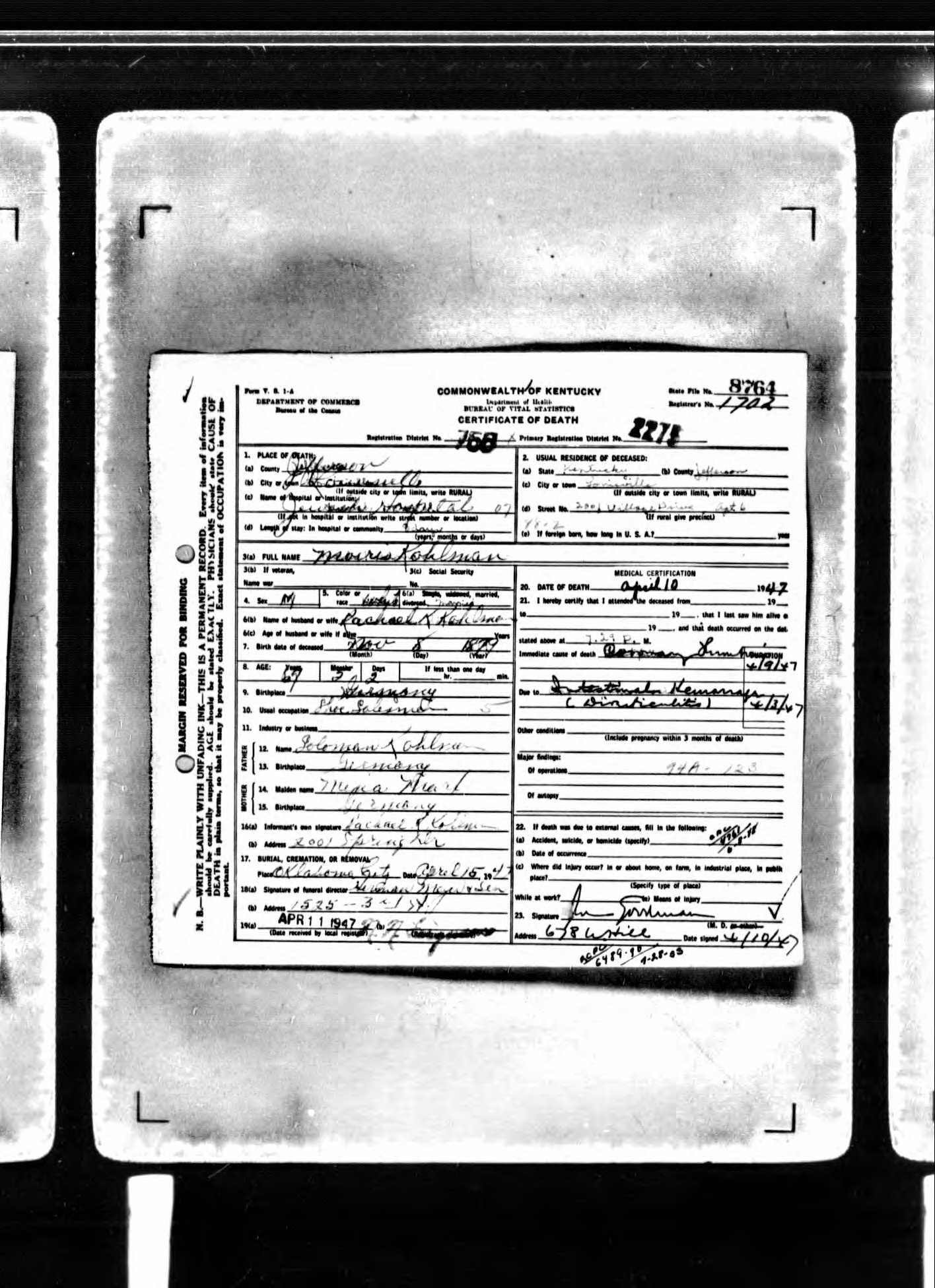 Oklahoma brotmanblog a family journey page 2 lehi ut usa ancestry operations inc 2007 original data kentucky kentucky birth marriage and death records microfilm 1852 1910 aiddatafo Images