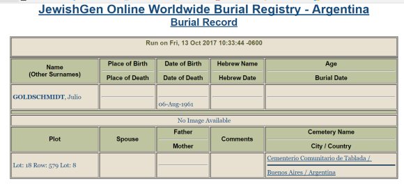 Julius Goldschmidt burial record JOWBR