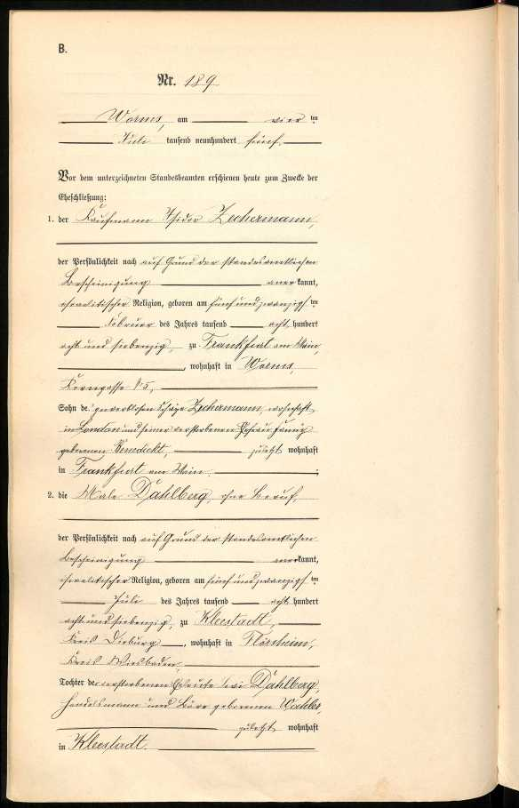 Marriage of Isidor Zechermann to first wife