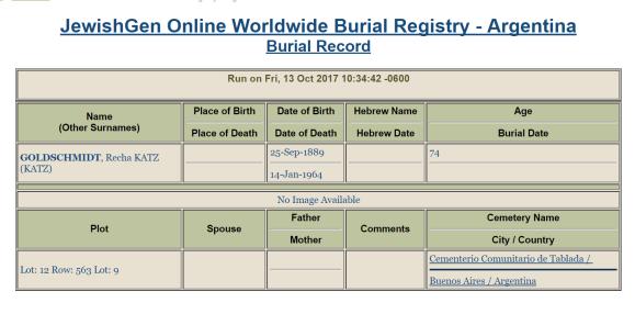 Recha Katz Goldschmidt burial record
