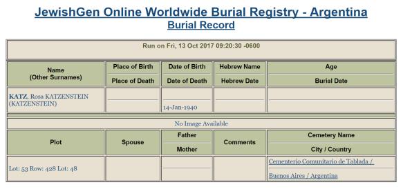 Rosa Katzenstein burial information