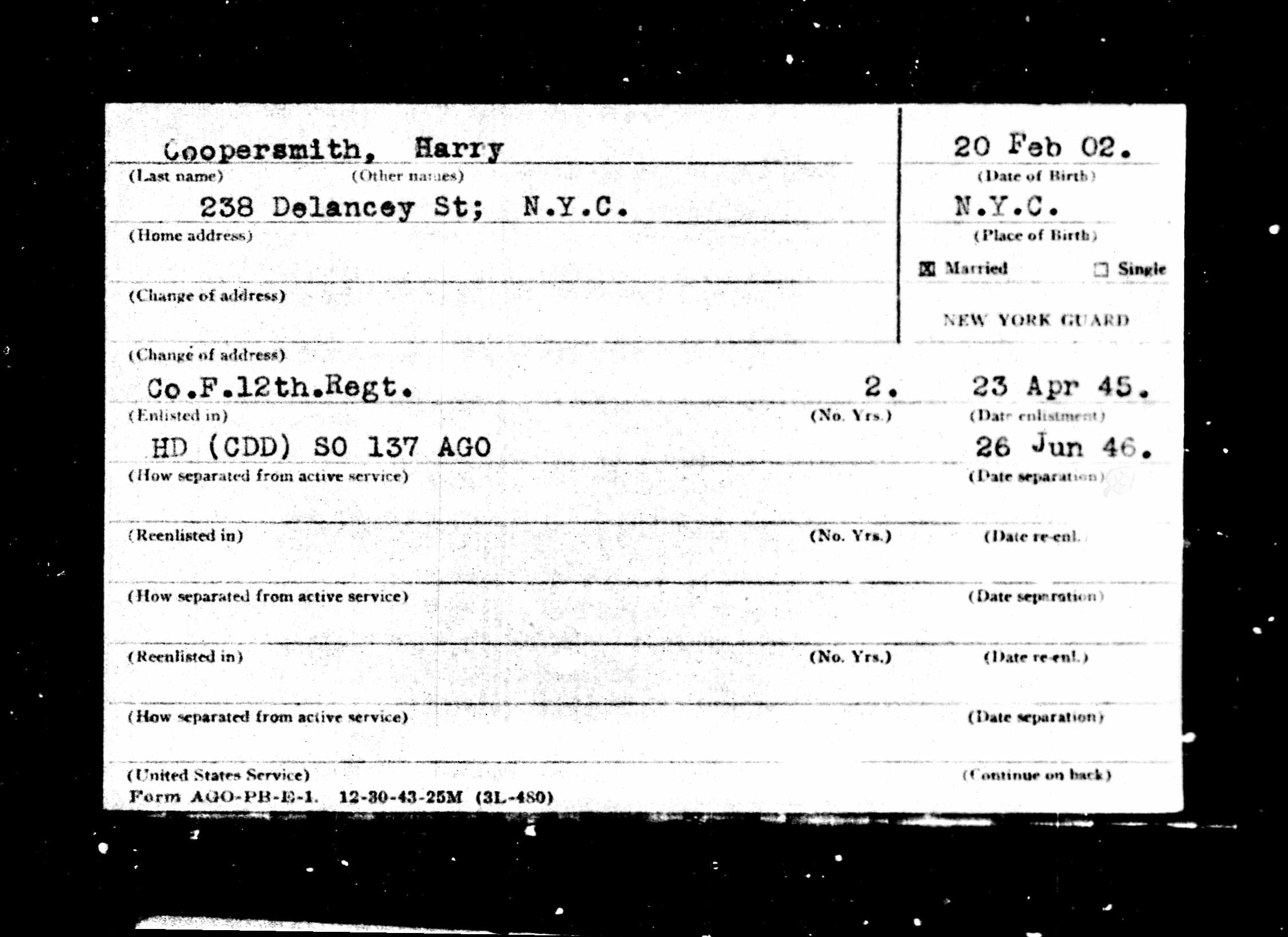 Death certificate brotmanblog a family journey new york state archives albany new york collection new york new york guard service cards and enlistment records 1906 1918 1940 1948 series b2000 xflitez Image collections