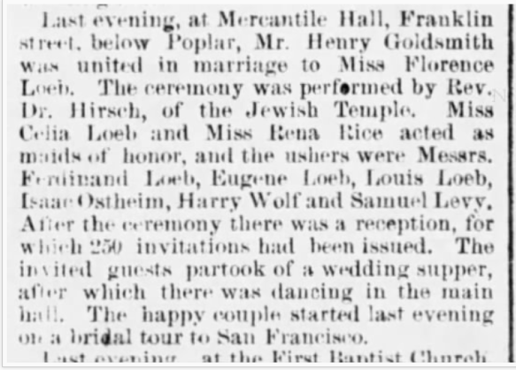 Harry Goldsmith wedding to Florence Loeb Phil Inq Dec 5 1883