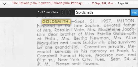 Milton Goldsmith death notice Phil Inq