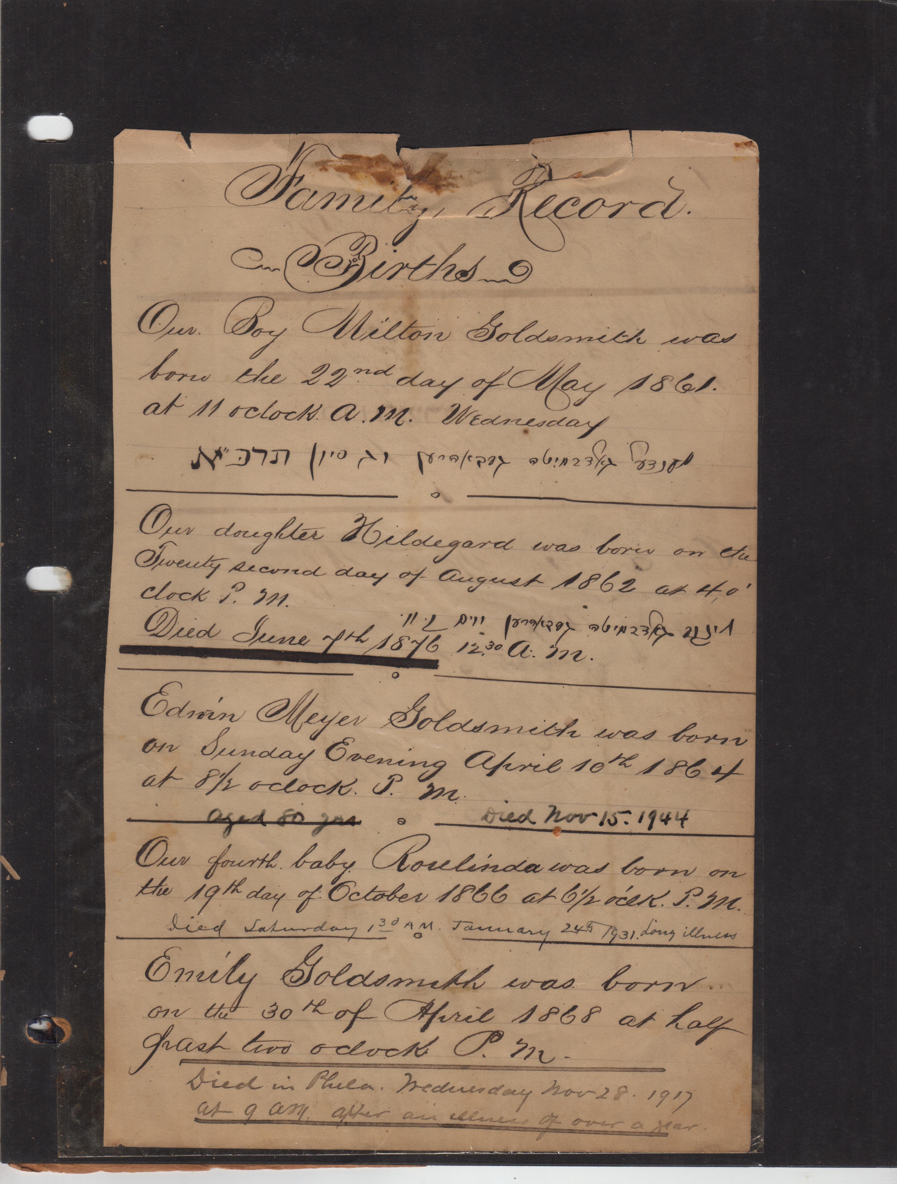 Milton Goldsmith's Family Album, Part VIII: Birth Records