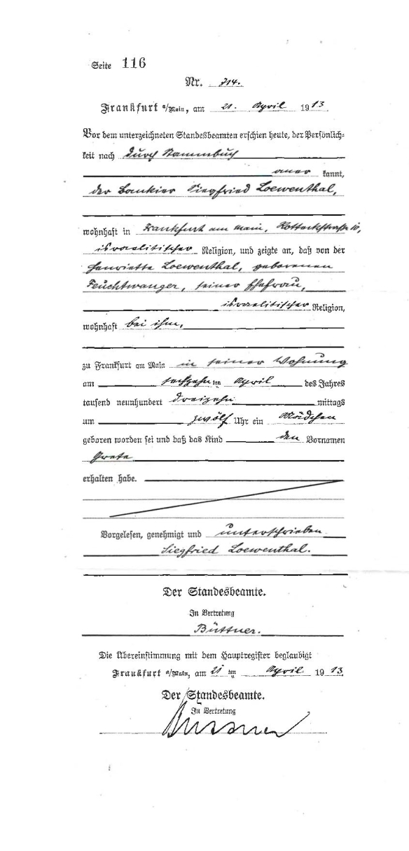 Grete Loewenthal birth record from AK
