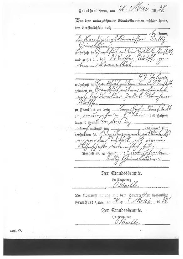 Martha Loewenthal Wolff death cert from AK