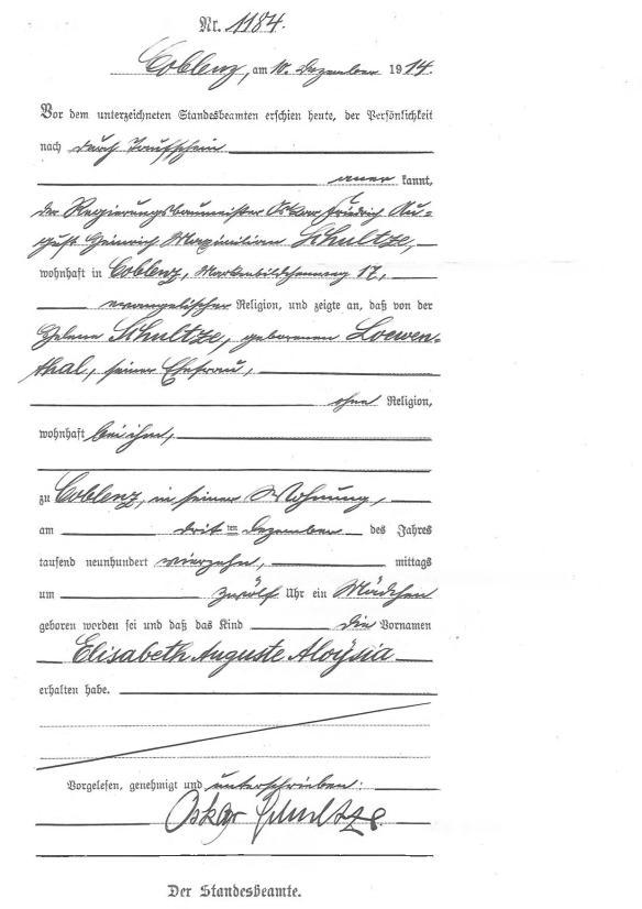 Elisabeth Schultze, birth record, Coblenz