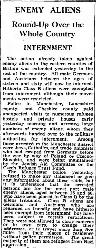 Enemy Aliens article London Times May 17, 1940 from Steve Mondros on FB